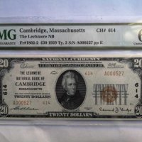 RARE $ 20 DOLLARS 1929 Type 2 The LECHMERE CAMBRIDGE PMG64 CHARTER 614