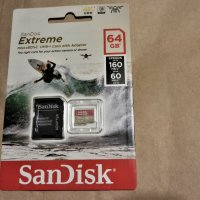 Карта памет SanDisk Extreme microSDXC 64GB за Action Cams и Drones и SD Adapter 160MB/s A2 C10 V30 U
